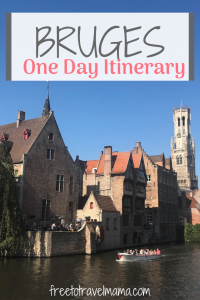 Looking to spend one day in the beautiful canal city of Bruges? Check out our top tips for exploring this adorable city here. #burges #freetotravelmama #belgium