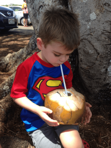 Drinking milk out of a coconut is one of the many almost free things you can do on Kauai with children.