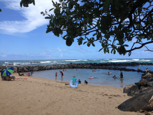 Things to do in Kauai with Kids: Lydgate Park in Kauai is home to the perfect beach for little ones and one of our favorite things to do in Kauai with children.