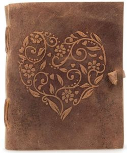 Travel Gift Ideas: Embossed Heart Leather Journal