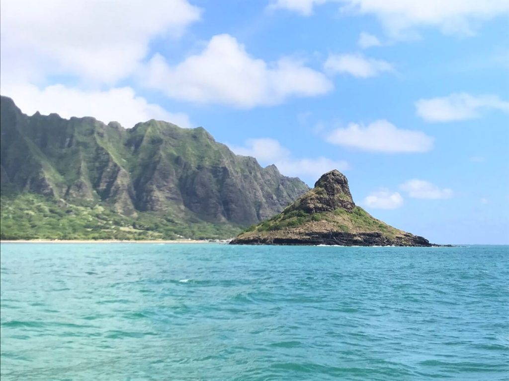 Oahu Itinerary 7 Days: View of Chinaman's Hat from the catamaran at Kualoa Ranch