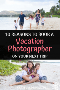 Hand your camera to a stranger? Try to fit the whole family into the screen for a selfie? They ARE better ways to capture beautiful family photos on your vacation and we are in LOVE with them. Check out our top reasons for making this happen. #freetotravelmama #familyphotos #vacationphotos #hawaiiphotographer