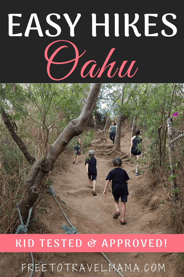 Oahu Hiking with Kids -Hikes on Oahu are magical, but many aren't kid-friendly. Check our guide with our tried and true favorites for hikes with kids! #freetotravelmama #hikingwithkids #oahu