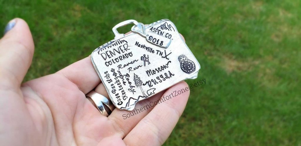 Hand-Stamped Pewter Travel Ornament