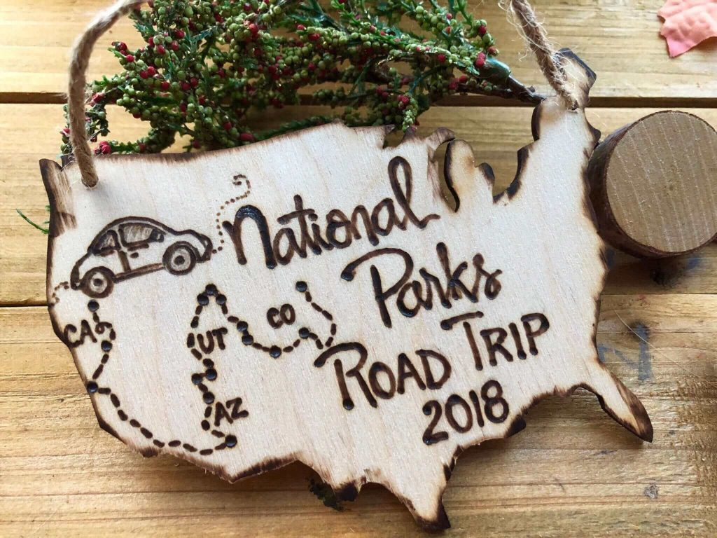Handmade Christmas Travel Ornament of the US