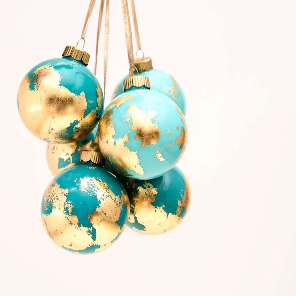 Gold Leaf Globe Travel Ornaments
