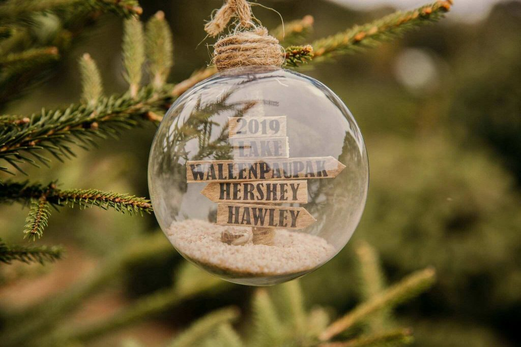 Travel Christmas Ornaments: Handmade Wooden Sign Bulb