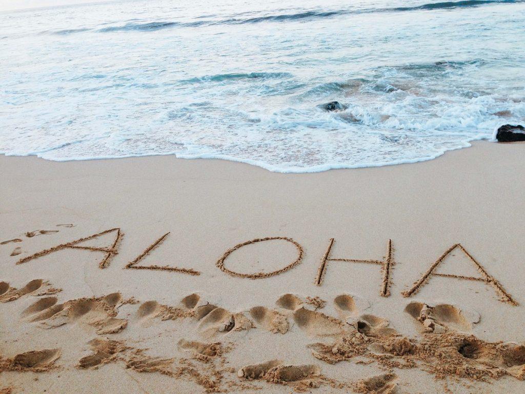 Aloha in the sand on Kailua Beach  #freetotravelmama | Oahu Hawaii Photography | Oahu Instagram Pictures |  Oahu Instagram Spots | Instagram Worthy Pictures in Oahu | Hawaii Instagram Pictures Oahu | Best Places for photos Oahu | Best Photo Spots Oahu