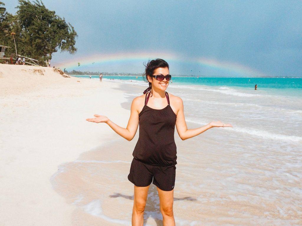 Rainbow on Kailua Beach, Oahu, Hawaii  #freetotravelmama | Oahu Hawaii Photography | Oahu Instagram Pictures |  Oahu Instagram Spots | Instagram Worthy Pictures in Oahu | Hawaii Instagram Pictures Oahu | Best Places for photos Oahu | Best Photo Spots Oahu