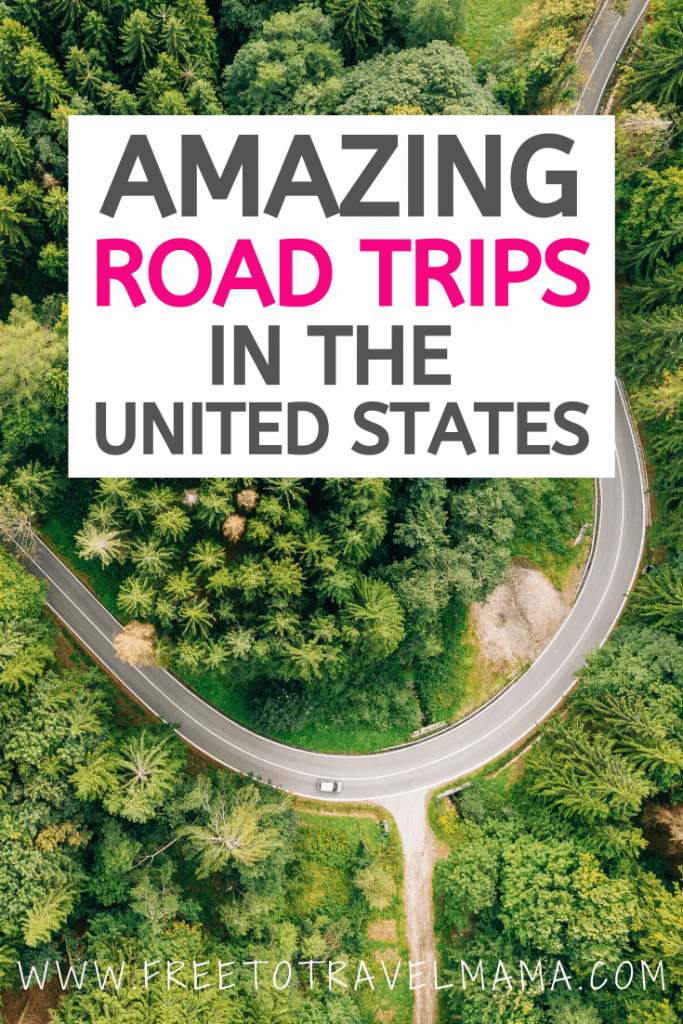 This list of the best road trips in the USA is sure to provide you with plenty of destination inspiration for your bucket lists. From coastal highways on the East coast to mountain roads in the West, the scenery and activities along the way are sure to be perfect for photography. Whether you have one week, a winter break, or a summer to spend, the options are endless. | #freetotravelmama | Best USA Road Trips | USA National Parks Road Trips|  USA Road Trip Ideas | USA Road Trips with Kids | Roadtrips in the US