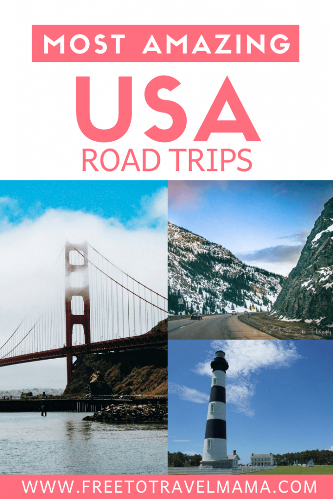 This list of the best road trips in the USA is sure to provide you with plenty of destination inspiration for your bucket lists. From coastal highways on the East coast to mountain roads in the West, the scenery and activities along the way are sure to be perfect for photography. Whether you have one week, a winter break, or a summer to spend, the options are endless. | #freetotravelmama #roadtrip | USA Road Trip Ideas | USA Road Trips with Kids | Roadtrips in the US | Best USA Road Trips | USA National Parks Road Trips