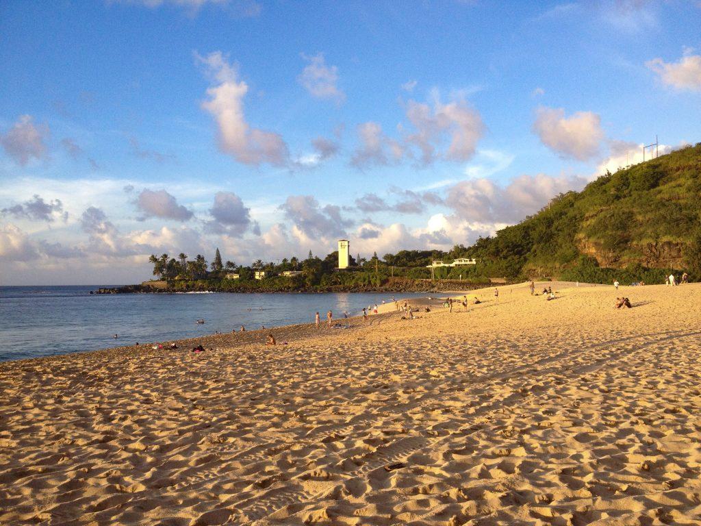 Waimea Bay, Oahu at sunset